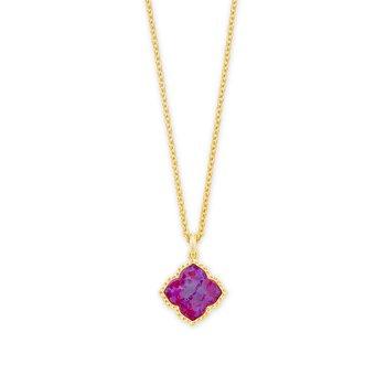 Kendra Scott Mallory Pendant Necklace Yellow Plum Opal