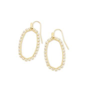 Elle Open Frame Crystal Drop Earrings In Gold
