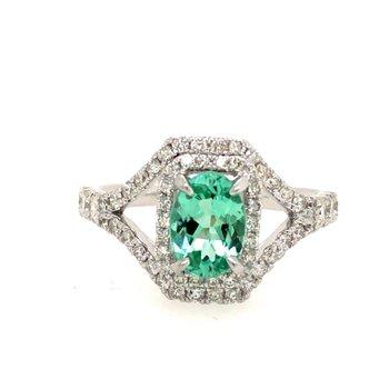 Mint Tourmaline & Diamond Ring