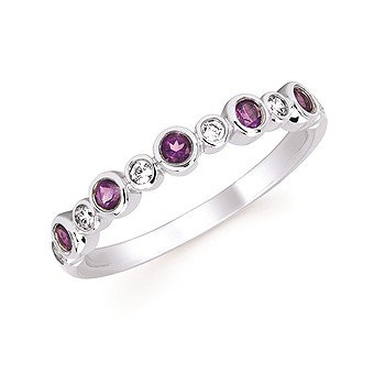 February Stackable Birthstone and Diamond Band