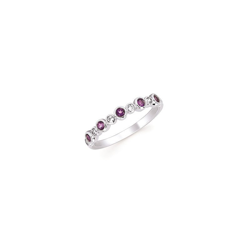 Lasker Gemstone February Stackable Birthstone and Diamond Band