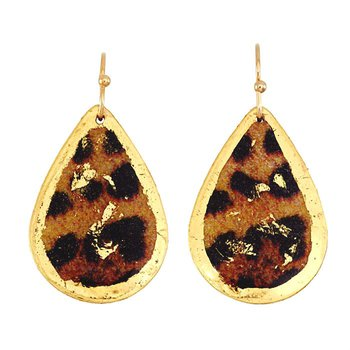 Small Leopard Teardrop Earrings