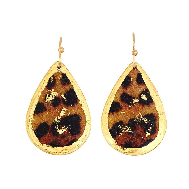 Evocateur Small Leopard Teardrop Earrings