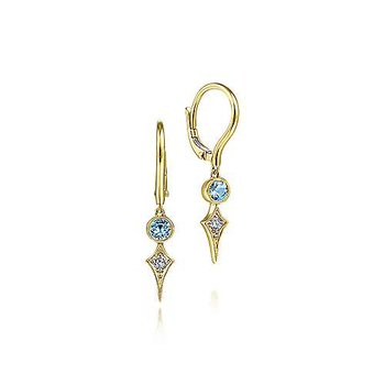 14K Yellow Gold Blue Topaz and Spiked Diamond Kite Drop Earrings
