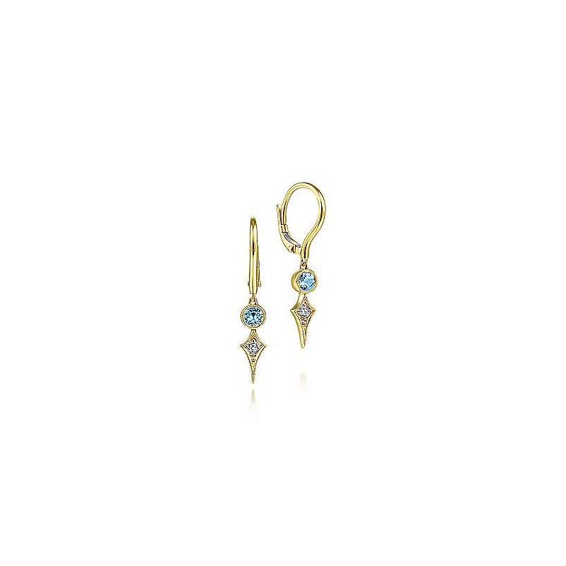 Gabriel Fashion 14K Yellow Gold Blue Topaz and Spiked Diamond Kite Drop Earrings