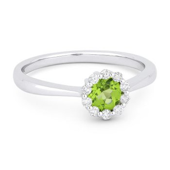 Peridot Halo Birthstone  Ring
