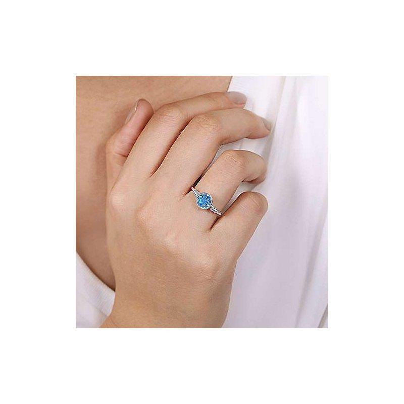 Gabriel Fashion 14K White Gold Round Bezel Set Blue Topaz and Diamond Ring