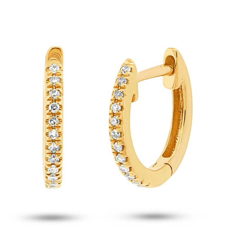 Shy 14K Yellow Gold Diamond Huggie Earrings