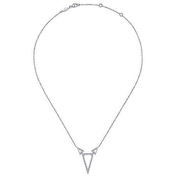 925 Sterling Silver & White Sapphire Triangle Necklace