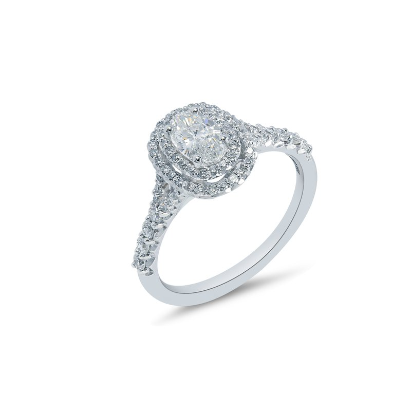 Collage Collection Oval Double Halo Engagement Ring