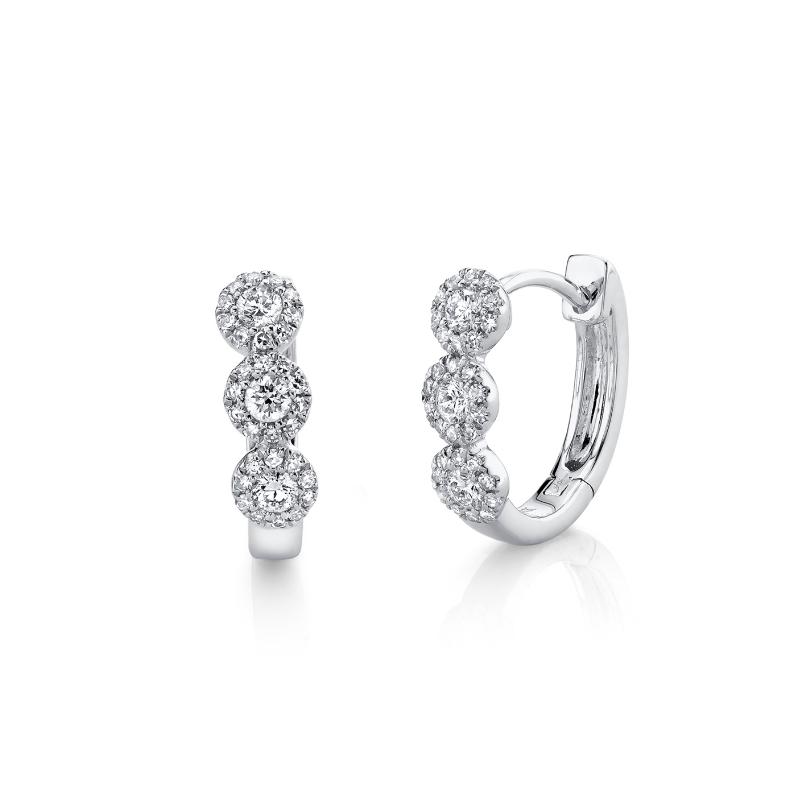 Shy 14K White Gold Diamond Huggie Earrings