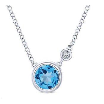 Silver Fashion Diamond Swiss Blue Topaz Necklace