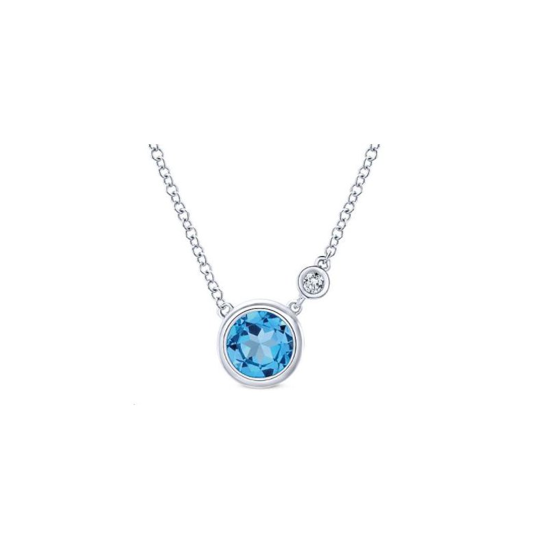 Gabriel Silver Fashion Diamond Swiss Blue Topaz Necklace