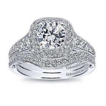 Florence 14K White Gold Cushion Halo Round Diamond Engagement Ring