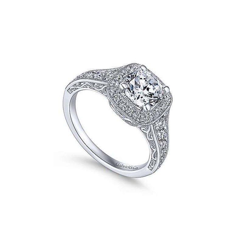 Gabriel Florence 14K White Gold Cushion Halo Round Diamond Engagement Ring