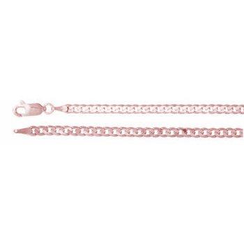 "7.25"" 14K Rose Gold Open Curb Chain Bracelet"