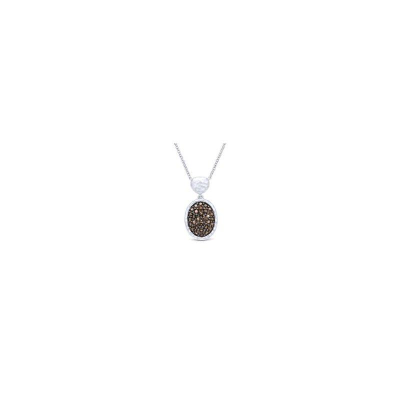 Gabriel 925 Sterling Silver and Smoky Quartz Fashion Necklace