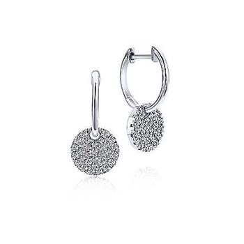 14K White Gold Diamond Dangle Earrings EG12654W45JJ