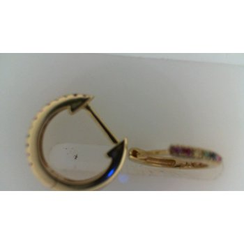 14K Yellow Gold Multi Color Stone Huggie Earrings