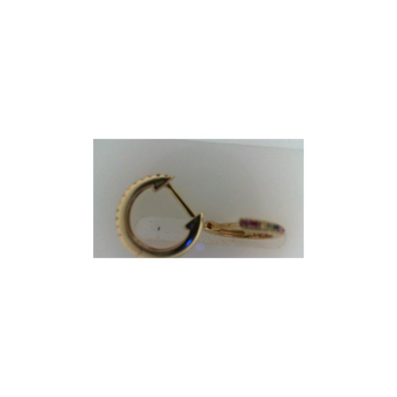 Shy 14K Yellow Gold Multi Color Stone Huggie Earrings