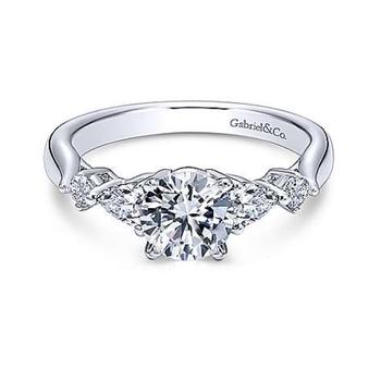 Carrie 14K White Gold Round Three Stone Diamond Engagement Ring