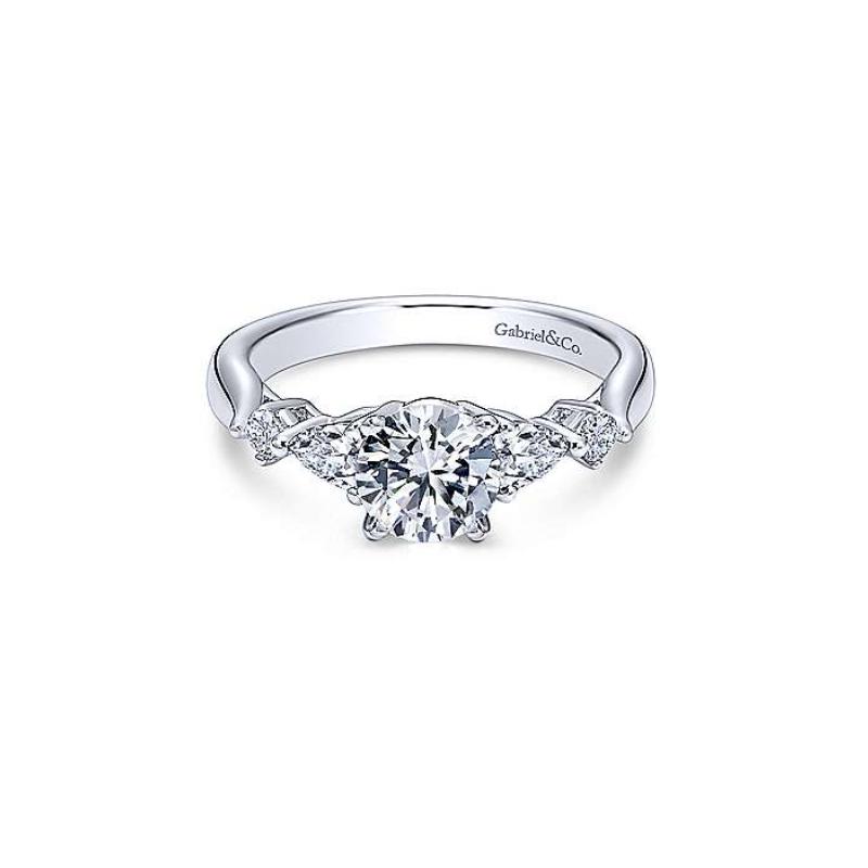Gabriel Carrie 14K White Gold Round Three Stone Diamond Engagement Ring