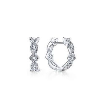 14K White Gold Diamond Hoop Earrings EG13458W45JJ