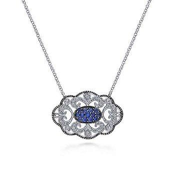 Sapphire filigree open work style pendant necklace.