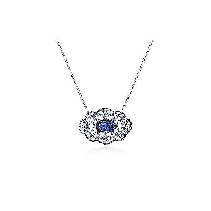 Gabriel Sapphire filigree open work style pendant necklace.