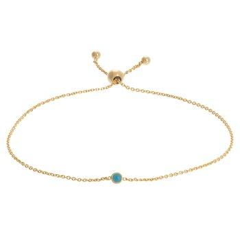 "9.5"" 14K Yellow Gold Reversible Turquoise Enamel Bolo Bracelet"