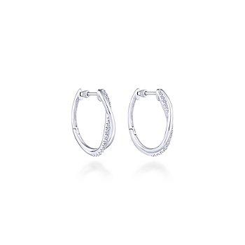 Sterling Silver & White Sapphire Twist Hoop Earrings