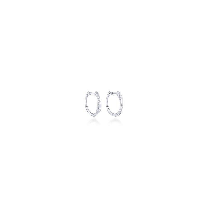 Gabriel Sterling Silver & White Sapphire Twist Hoop Earrings