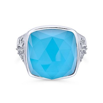 Sterling Silver, White Sapphire & Turquoise Fashion Ring LR50834SVJMC