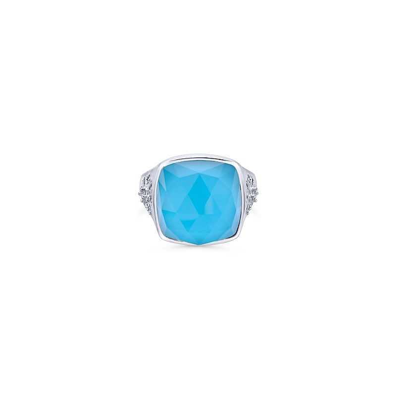 Gabriel Sterling Silver, White Sapphire & Turquoise Fashion Ring LR50834SVJMC
