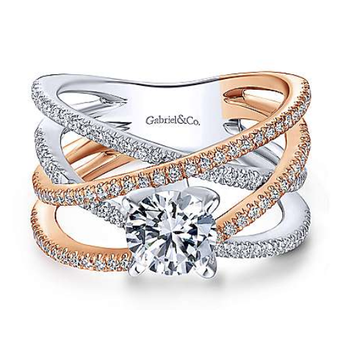 14K White and Rose Gold Two-Tone Diamond Engagement Ring