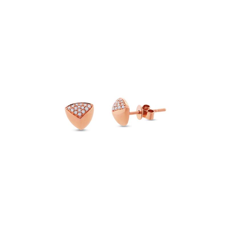 Rose Gold Diamond Pave Pyramid Earrings