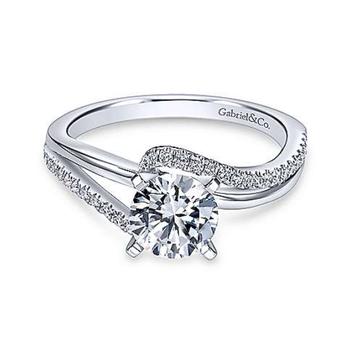 Naomi 14K White Gold Round Bypass Diamond Engagement Ring