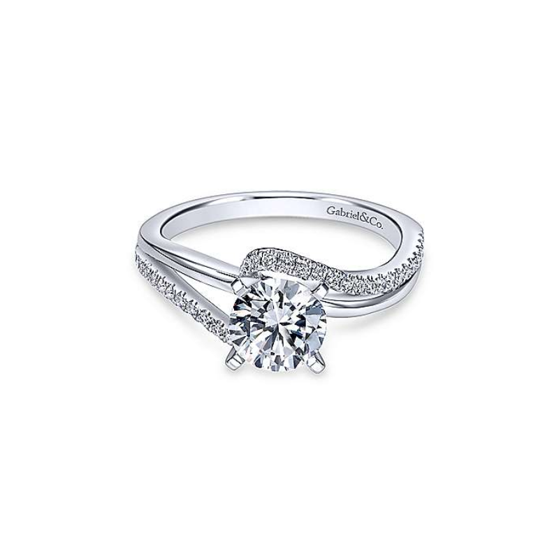 Gabriel Naomi 14K White Gold Round Bypass Diamond Engagement Ring