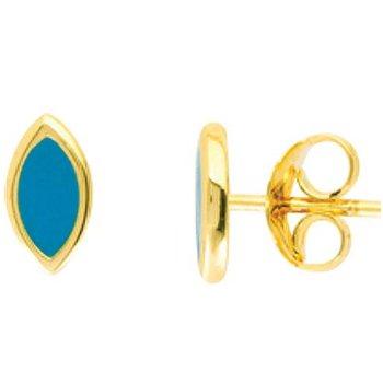 14K Yellow Gold Turquoise Enamel Marquise Stud Earrings
