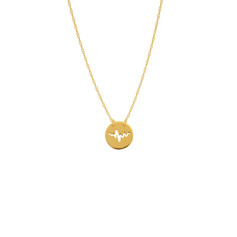 "Midas 18"" 14K Yellow Gold Mini Heartbeat Disc Adjustable Necklace"