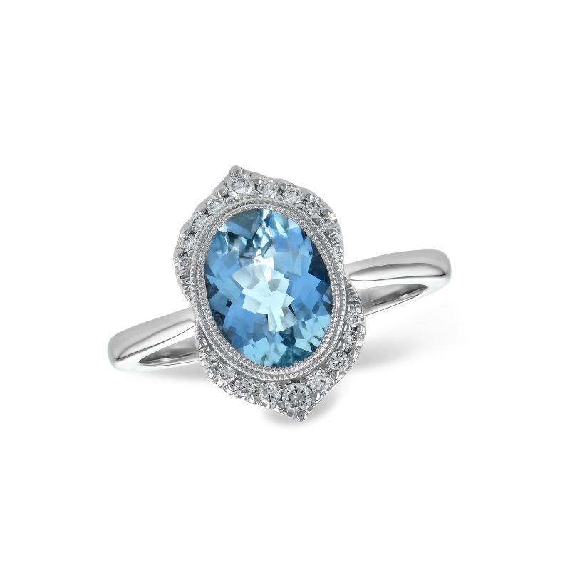 Allison-Kaufman Aquamarine and Diamond Ring