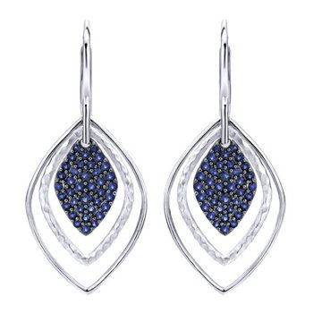 925 Sterling Silver and Blue Sapphire Lever Back dangle earrings