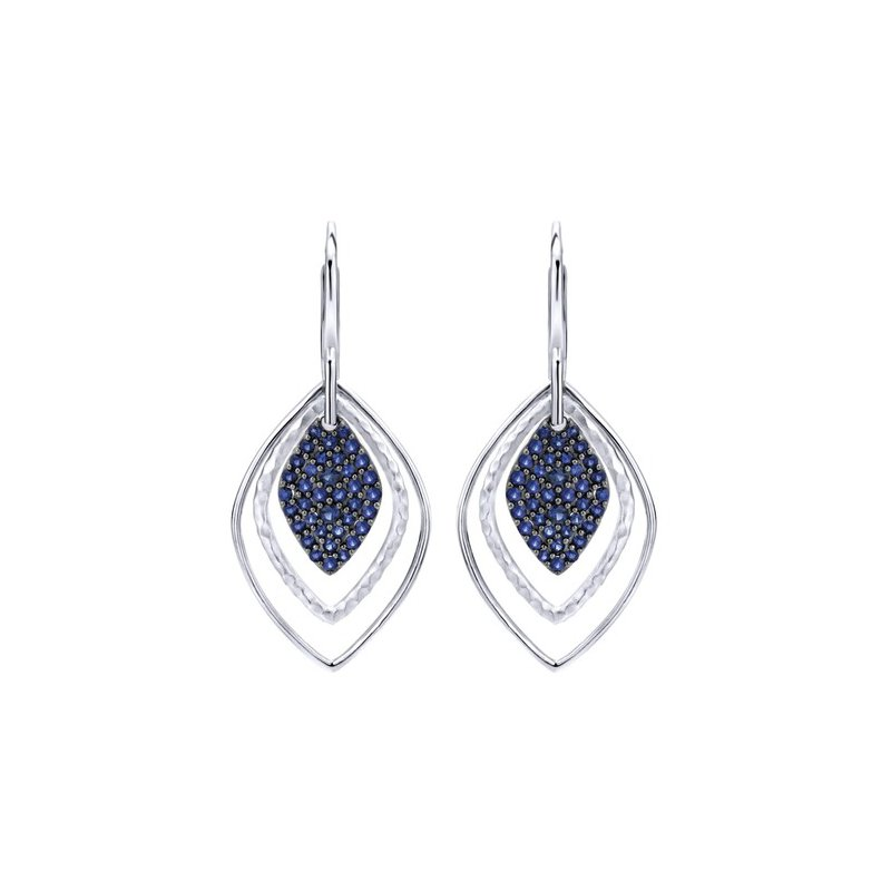 Gabriel 925 Sterling Silver and Blue Sapphire Lever Back dangle earrings