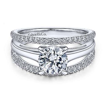 Halima 14K White Gold Round Diamond Engagement Ring
