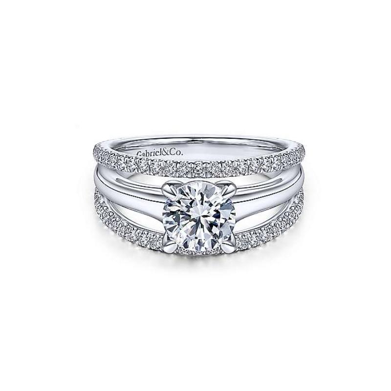 Gabriel Halima 14K White Gold Round Diamond Engagement Ring