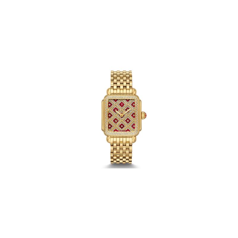 MICHELE Deco Château Gold Diamond Watch