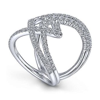 14K White Gold Ladies Diamond Fashion Ring