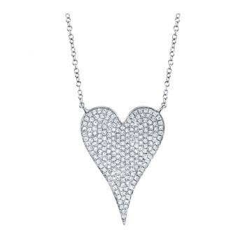 14K White Gold Large Pave Diamond Heart Pendant