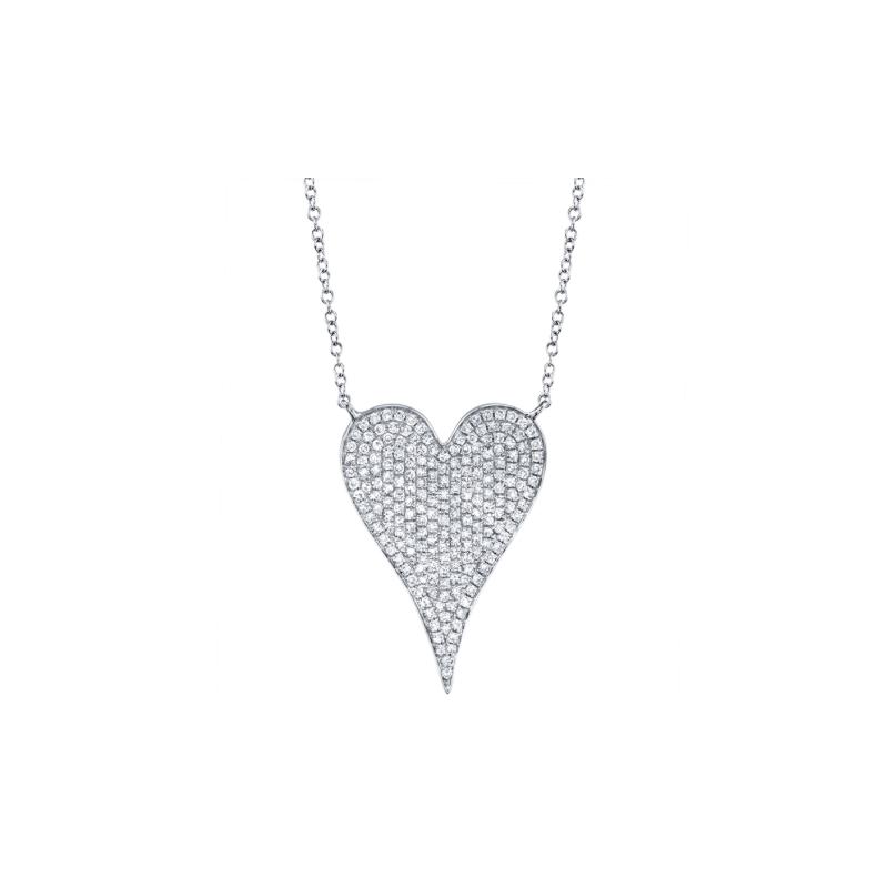 Shy 14K White Gold Large Pave Diamond Heart Pendant