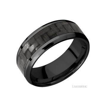 Zirconium & Carbon Fiber Men's Wedding Band